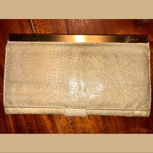 Suede leather HOBO clutch envelope wallet
